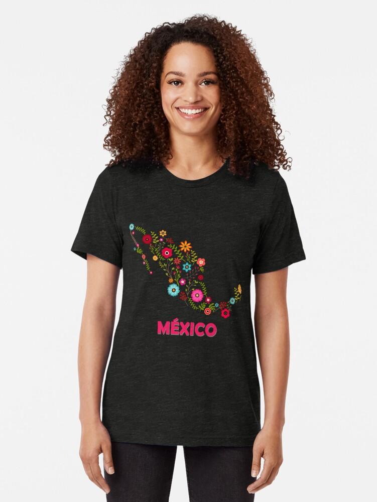 Vista alternativa de Camiseta de tejido mixto Mexico map flowers