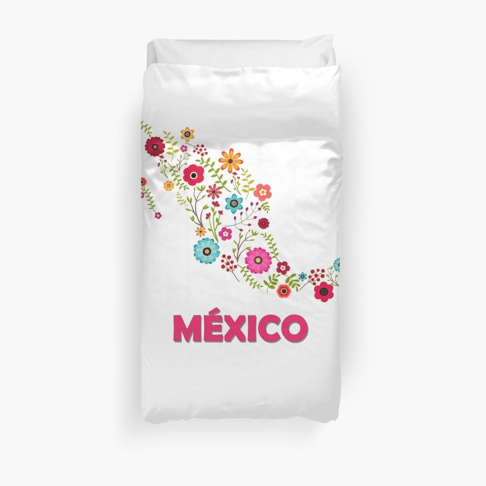 Mexico map flowers Funda nórdica