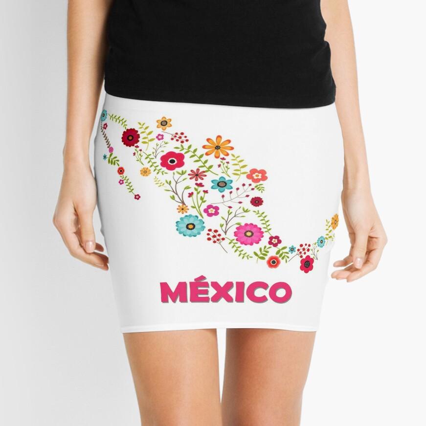 Mexico map flowers Minifalda