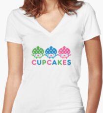 cupcake Fun light Women's Fitted V-Neck T-Shirt