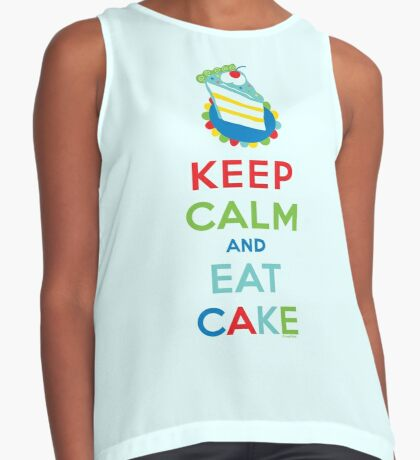 Keep Calm and Eat Cake - on white Contrast Tank
