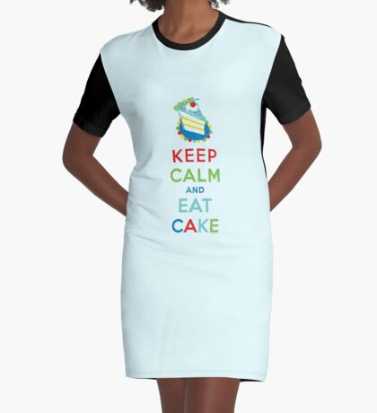 Keep Calm and Eat Cake - on white Graphic T-Shirt Dress
