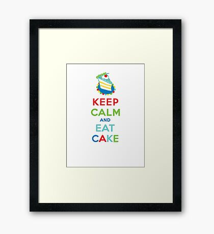 Keep Calm and Eat Cake - on white Framed Print