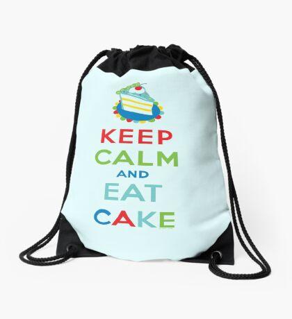 Keep Calm and Eat Cake - on white Drawstring Bag