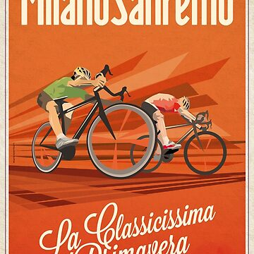 Retro Milan San Remo cycling art by SFDesignstudio