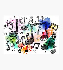 Watercolor Music Notes Photographic Print
