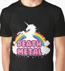 death metal silhouette parody unicorn rainbow Graphic T-Shirt