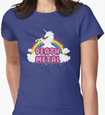 death metal silhouette parody unicorn rainbow Womens Fitted T-Shirt