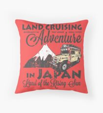 Landcruising Adventure in Japan - Curly font edition Throw Pillow