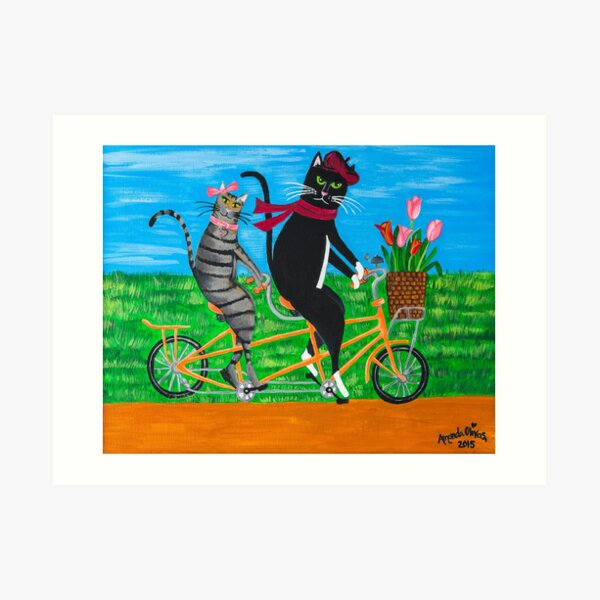 Two Whimsical Cats - Kitty Cat Outing Art Print