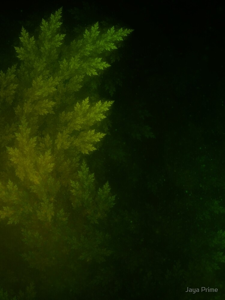 Beautiful Fractal Pines in the Misty Spring Night by jayaprime