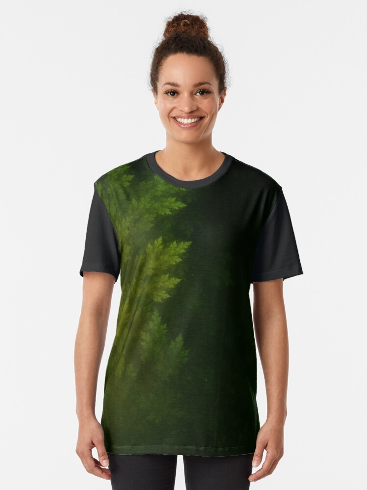 Alternate view of Beautiful Fractal Pines in the Misty Spring Night Graphic T-Shirt