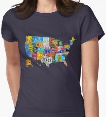 USA License Plate map funny Women's Fitted T-Shirt