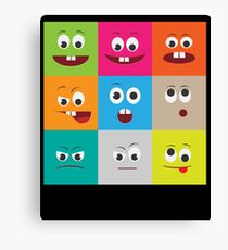 Colorful Funny Facial Expressions Cute Kids  Canvas Print
