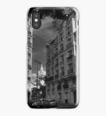 Paris - Montmartre Streetscape 003 BW iPhone Case/Skin