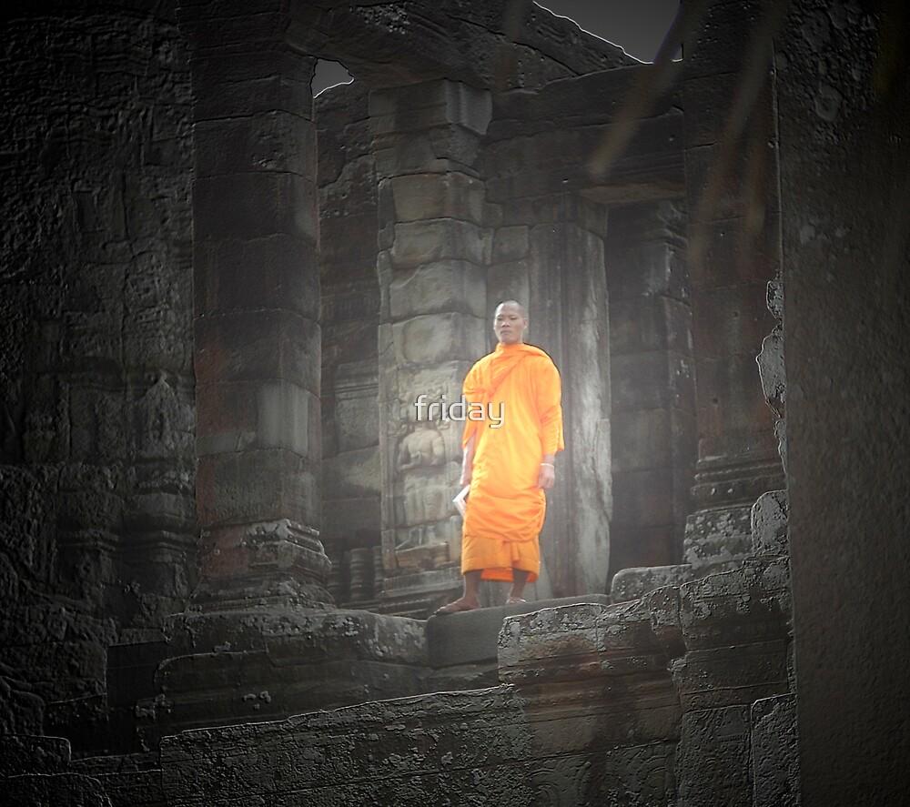 monk in angkor by Amagoia  Akarregi