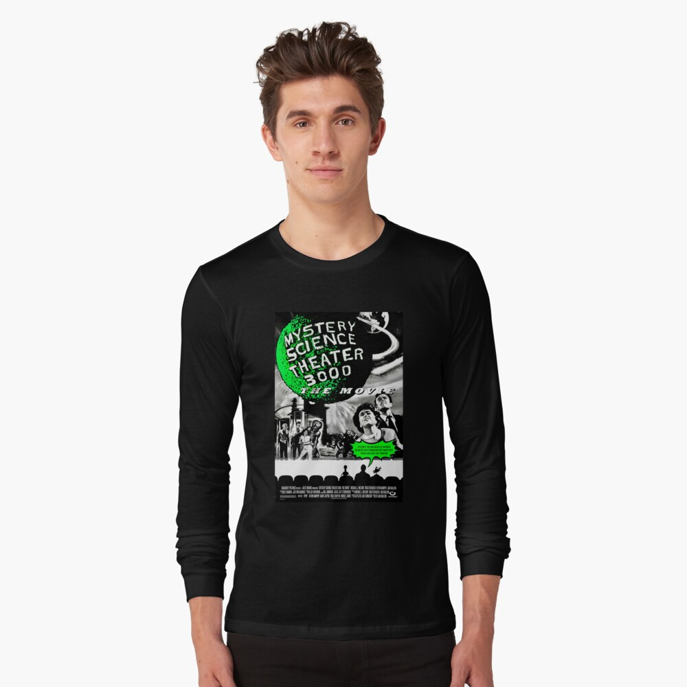 MST3K The Movie Black and White Poster Long Sleeve T-Shirt Front