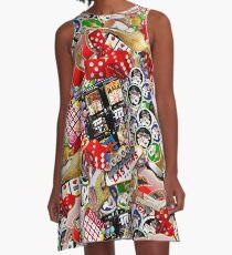 Gamblers Delight - Las Vegas Icons Background A-Line Dress
