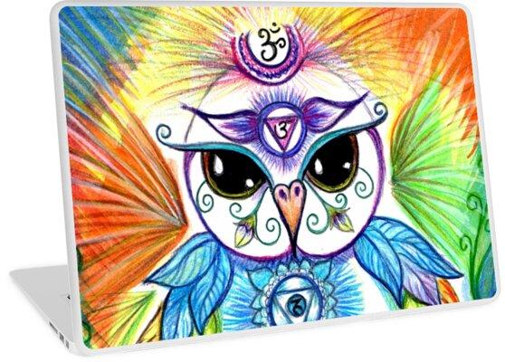 Chakra Owl-Yoga Owl by Sheridon Rayment by Sheridon Rayment