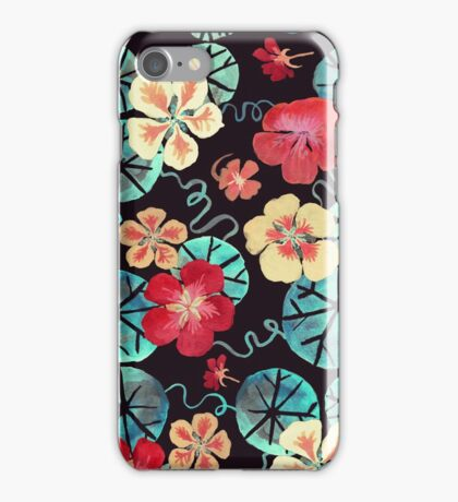 Watercolor Nasturtiums: In the Still of the Night iPhone Case/Skin