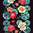 Watercolor Nasturtiums: In the Still of the Night by tanjica