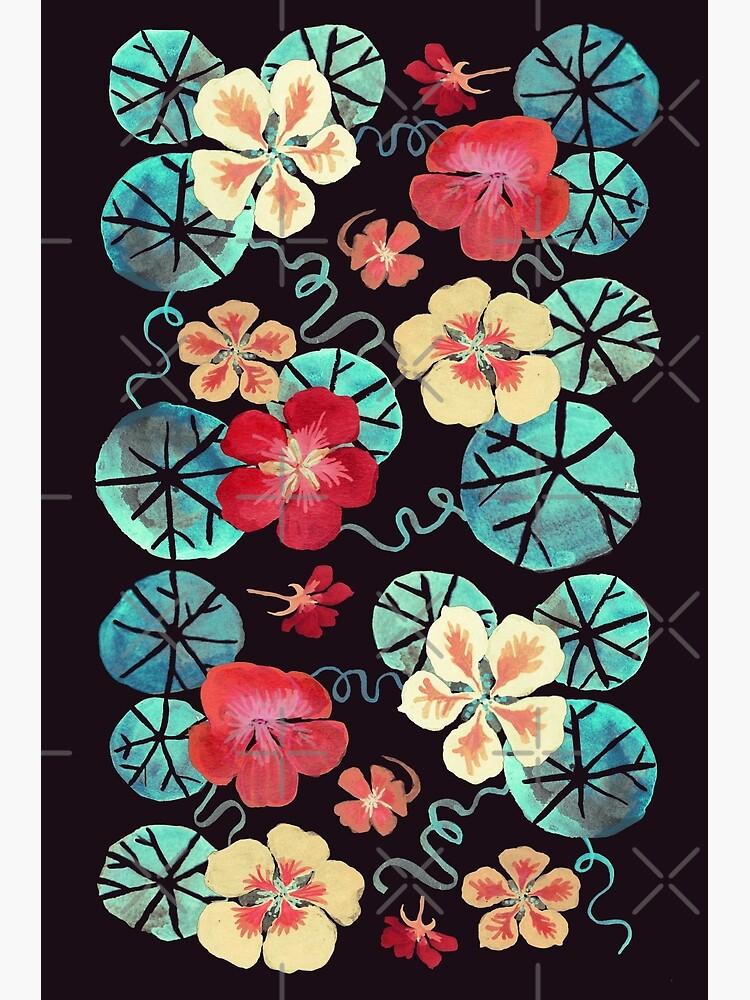 Watercolor Garden Nasturtiums. Dark Floral Pattern by tanjica