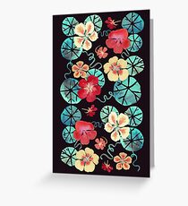 Watercolor Nasturtiums: In the Still of the Night Greeting Card