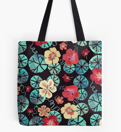 Watercolor Nasturtiums: In the Still of the Night Tote Bag