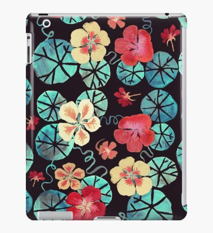 Watercolor Nasturtiums: In the Still of the Night iPad Case/Skin