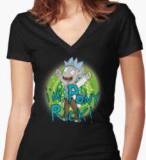 Pony Rick! Logo Women's Fitted V-Neck T-Shirt