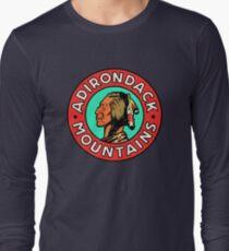 Vintage Style Adirondack Mountains 1950's Travel Image Long Sleeve T-Shirt