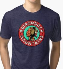 Vintage Style Adirondack Mountains 1950's Travel Image Tri-blend T-Shirt