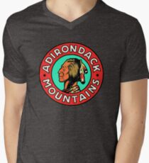 Vintage Style Adirondack Mountains 1950's Travel Image Men's V-Neck T-Shirt
