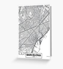 Vector poster map city Barcelona Greeting Card