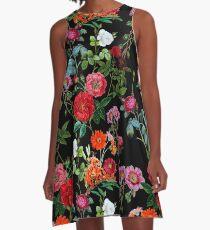 Botanisches Muster A-Linien Kleid