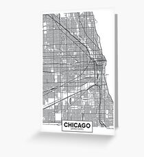 Vector poster map city Chicago Greeting Card