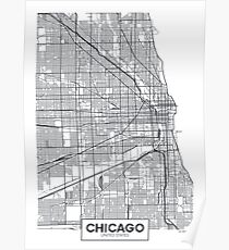 Vector poster map city Chicago Poster