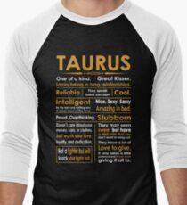 Funny Taurus Zodiac Sign Shirt Men's Baseball ¾ T-Shirt