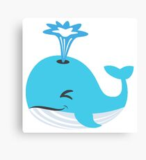 Cartoon Whale Blowing Water Canvas Print
