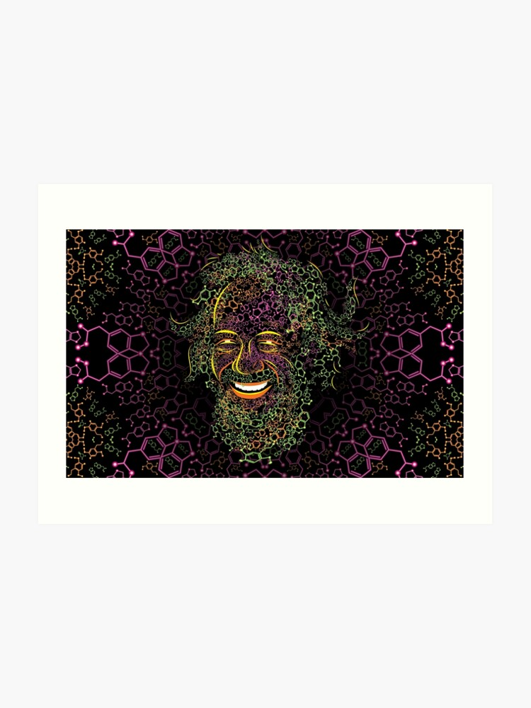 Alexander Shulgin MDMA and 2C-B Molecules Psychedelic Portrait | Art Print