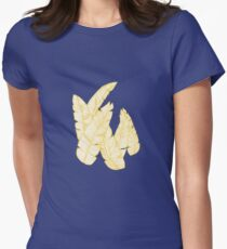 Banana Leaves on Yellow #redbubble #decor #buyart Womens Fitted T-Shirt