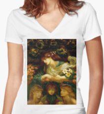 Rossetti - The Blessed Damozel Women's Fitted V-Neck T-Shirt