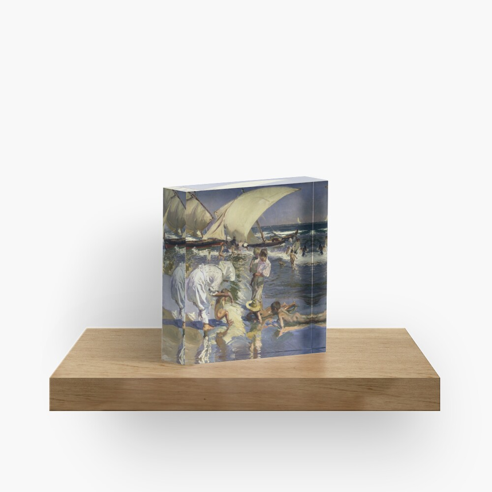 Joaquin Sorolla Y Bastida - Beach Of Valencia By Morning Light Acrylic Block