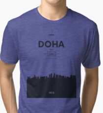 Poster city skyline Doha Tri-blend T-Shirt