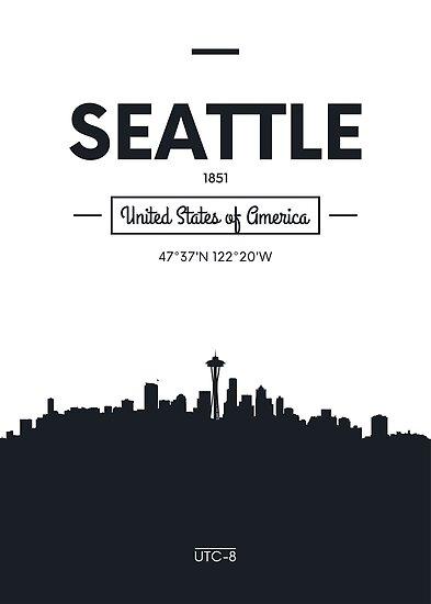 Poster city skyline Seattle by maximgertsen