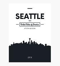 Poster city skyline Seattle Photographic Print