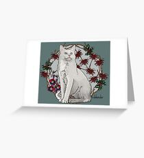 Winter Garden Cat Greeting Card