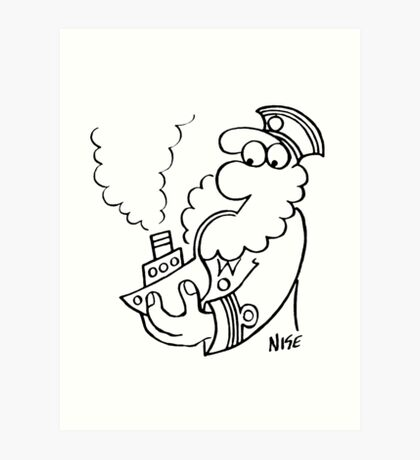 Old Sea Dog Smokes a Pipe Art Print