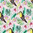 Tropical Toucan Paper-Cut Floral  by Tangerine-Tane