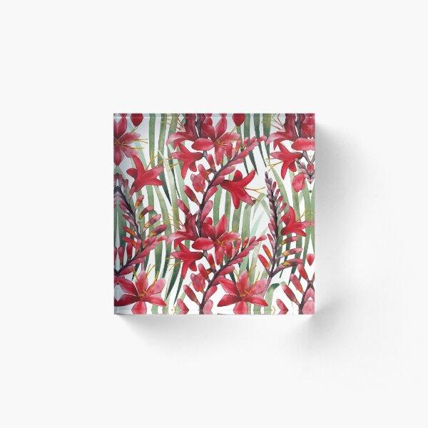 Watercolor crocosmia  Acrylic Block